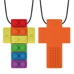 2 PCS Silicone Baby Building Block Teether Autistic Children Molar Stick, Colour: Orange Two