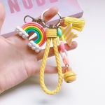 4 PCS Cute Soft Clay Rainbow Keychain Student Schoolbag Lollipop Pendant, Colour: Yellow Rope Cloud