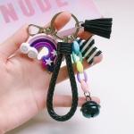 4 PCS Cute Soft Clay Rainbow Keychain Student Schoolbag Lollipop Pendant, Colour: Black Rope Rainbow