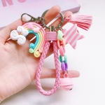 4 PCS Cute Soft Clay Rainbow Keychain Student Schoolbag Lollipop Pendant, Colour: Powder Rope Love Rainbow