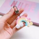 4 PCS Cute Soft Clay Rainbow Keychain Student Schoolbag Lollipop Pendant, Colour: Single Rainbow