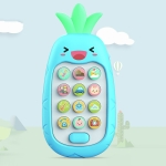 2 PCS Baby Early Education Chinese-English Bilingual Multifunctional Telephone Toy, Colour: Blue Pineapple