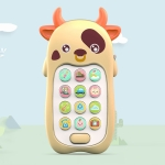 2 PCS Baby Early Education Chinese-English Bilingual Multifunctional Telephone Toy, Colour: Yellow Cow