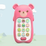 2 PCS Baby Early Education Chinese-English Bilingual Multifunctional Telephone Toy, Colour: Pink Bear