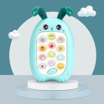 2 PCS Baby Early Education Chinese-English Bilingual Multifunctional Telephone Toy, Colour: Green Rabbit