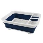 2 PCS Silicone Folding Drainage Dish Rack Tableware Storage Box(Blue + White)