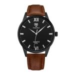 YAZOLE 318 Blu-ray Business Watch All-Match Men Quartz Watch(Black Shell Brown Belt)