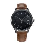 YAZOLE 502 Arabic Numerals Men Business Watch Fashion Quartz Watch(Black Shell Black Tray Brown Belt)