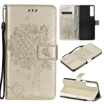 For LG Stylo 7 5G / 4G Tree & Cat Pattern Pressed Printing Horizontal Flip PU Leather Case with Holder & Card Slots & Wallet & Lanyard(Gold)