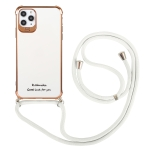 Electroplating TPU Four-Corner Shockproof Protective Case with Lanyard For iPhone 11 Pro Max(White)