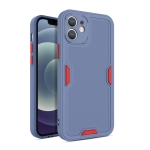Contrast-Color Straight Edge Matte TPU Shockproof Case with Sound Converting Hole For iPhone 12 Pro(Grey)