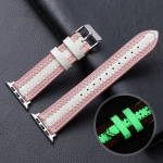 Cowhide Leather Luminous Replacement Strap Watchband For Apple Watch Series 6 & SE & 5 & 4 44mm / 3 & 2 & 1 42mm(Pink)
