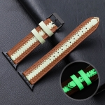 Cowhide Leather Luminous Replacement Strap Watchband For Apple Watch Series 6 & SE & 5 & 4 44mm / 3 & 2 & 1 42mm(Brown)