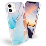 Frosted Watercolor Marble TPU Protective Case For iPhone 12 / 12 Pro(Aqua Blue)