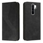 For Xiaomi Redmi Note 8 Pro Skin Feel Magnetic S-type Solid Color Horizontal Flip Leather Case with Holder & Card Slot & Wallet(Black)