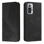 For Xiaomi Redmi Note 10 Pro Skin Feel Magnetic S-type Solid Color Horizontal Flip Leather Case with Holder & Card Slot & Wallet(Black)