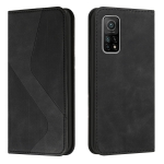 For Xiaomi Mi 10T Pro 5G Skin Feel Magnetic S-type Solid Color Horizontal Flip Leather Case with Holder & Card Slot & Wallet(Black)