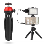 ADAI VK-03 Live Broadcast Video Shooting Mobile Phone LED Fill Light Microphone Tripod Set(Red)