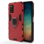 For Samsung Galaxy F52 5G Shockproof PC + TPU Protective Case with Magnetic Ring Holder(Red)