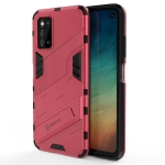 For Samsung Galaxy F52 5G Punk Armor 2 in 1 PC + TPU Shockproof Case with Invisible Holder(Light Red)