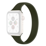 Silica Gel One-piece Solid Color Shrinking Money Replacement Watchbands, Size: XL 162x14mm For Apple Watch Series 6 & SE & 5 & 4 44mm / 3 & 2 & 1 42mm(Dark Green)