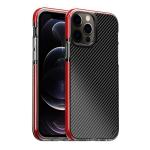 Transparent Carbon Fiber  + TPU Shockproof Case For iPhone 12 Pro Max(Red)