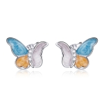 S925 Sterling Silver Three Colors Butterfly Ear Studs Women Earrings