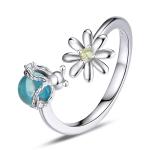 S925 Sterling Silver Fireflies Flowers Women Open Ring