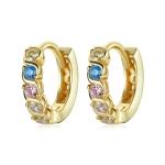 S925 Sterling Silver Shining Colorful Zircon Ear Buckle Women Earrings(Gold)