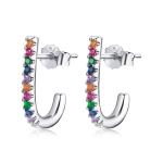 S925 Sterling Silver Christmas Cane Ear Studs Women Earrings(Silver)