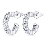 S925 Sterling Silver Geometric Simple Fashion Ear Studs Women Earrings, Color:White Zircon Silver