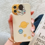 Straight Edge Astronaut Planet Print Pattern TPU Protective Case For iPhone 11(White)