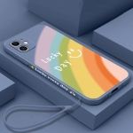 Straight Edge Rainbow Pattern Liquid Silicone Protective Case with Hand Strap For iPhone 12 mini(Lavender Grey)