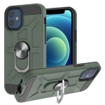 War-god Armor TPU + PC Shockproof  Magnetic Protective Case with Ring Holder For iPhone 12 mini(Deep Green)