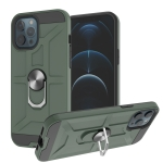 War-god Armor TPU + PC Shockproof  Magnetic Protective Case with Ring Holder For iPhone 12 / 12 Pro(Deep Green)