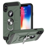 War-god Armor TPU + PC Shockproof  Magnetic Protective Case with Ring Holder For iPhone X / XS(Deep Green)