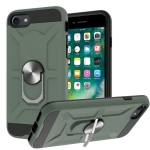 War-god Armor TPU + PC Shockproof  Magnetic Protective Case with Ring Holder For iPhone 8 / 7 / SE 2020(Deep Green)