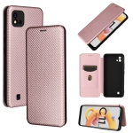 For OPPO Realme C11 2021 Carbon Fiber Texture Magnetic Horizontal Flip TPU + PC + PU Leather Case with Card Slot(Pink)