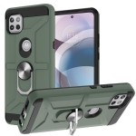 For Motorola Moto G 5G / One 5G Ace War-god Armor TPU + PC Shockproof Magnetic Protective Case with Ring Holder(Deep Green)