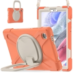 For Samsung Galaxy Tab A7 Lite T220 / T225 Silicone + PC Protective Case with Holder & Shoulder Strap(Coral Orange)