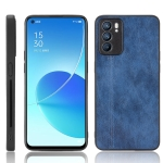 For OPPO Reno6 5G Shockproof Sewing Cow Skin Texture PC + PU + TPU Case(Blue)