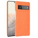 For Google Pixel 6 Pro Shockproof Crocodile Texture PC + PU Case(Orange)