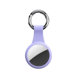 Round Shape Anti-scratch Shockproof Silicone Protective Cover Case with Keychain Hook Loop For AirTag(Purple)