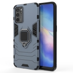 For OPPO Reno6 5G Shockproof PC + TPU Protective Case with Magnetic Ring Holder(Navy Blue)
