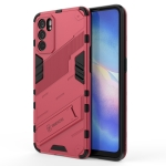 For OPPO Reno6 5G Punk Armor 2 in 1 PC + TPU Shockproof Case with Invisible Holder(Light Red)