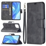 For Xiaomi Mi 11 Lite Retro Lambskin Texture Pure Color Horizontal Flip PU Leather Case with Holder & Card Slots & Wallet & Lanyard(Black)
