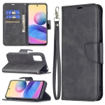 For Xiaomi Poco M3 Pro / Redmi Note 10 5G Retro Lambskin Texture Pure Color Horizontal Flip PU Leather Case with Holder & Card Slots & Wallet & Lanyard(Black)
