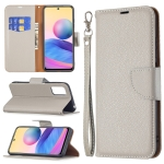 For Xiaomi Poco M3 Pro / Redmi Note 10 5G Litchi Texture Pure Color Horizontal Flip Leather Case with Holder & Card Slots & Wallet & Lanyard(Grey)