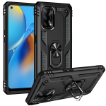 For OPPO A74 4G / F19 Shockproof TPU + PC Protective Case with 360 Degree Rotating Holder(Black)