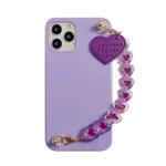Straight Edge TPU Protective Case with Heart Chain For iPhone 11 Pro Max(Taro Purple)